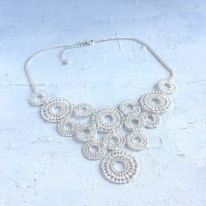 silver coloured lace necklace